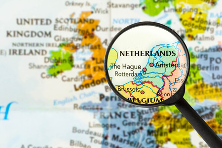 map of Netherlands through magnifying glass Stok Fotoğraf - 57266131