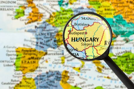 map of Hungary through magnifying glass