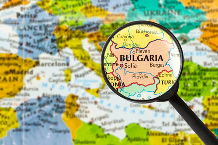 map of Republic of Bulgaria through magnifying glass Stok Fotoğraf - 57266140