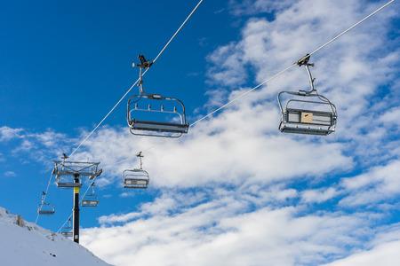 coronet: chairlifts at Coronet peak ski field in Queenstown New Zealand Stock Photo