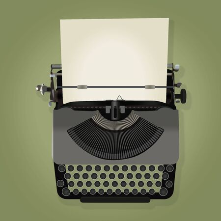 type writer: illustration of vintage typewriter with paper isolated on pale green background