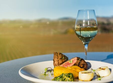 Steak and glass of white wine at winery Stock fotó - 67503934