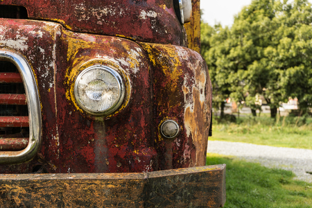 Front view of old rusty truck Stock Photo