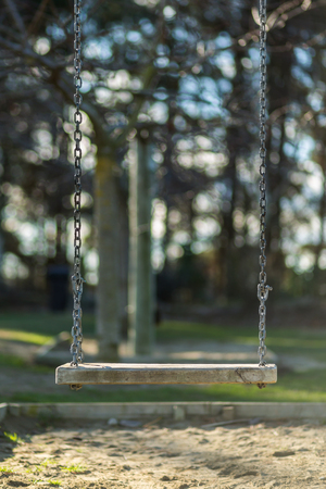 play the old park: Chain swing in the playground Stock Photo