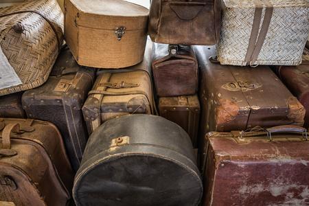 Stack of vintage suitcases for loading Stok Fotoğraf - 68516672