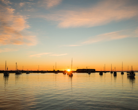oamaru: Sunrise at Oamaru harbor, New Zealand