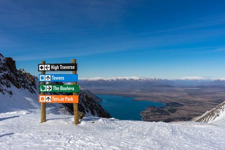 Direction sign on Ohau Snow Fields, New Zealand Stok Fotoğraf - 68522831