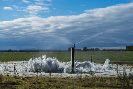 Frozen farmland in winter Stok Fotoğraf - 68447529