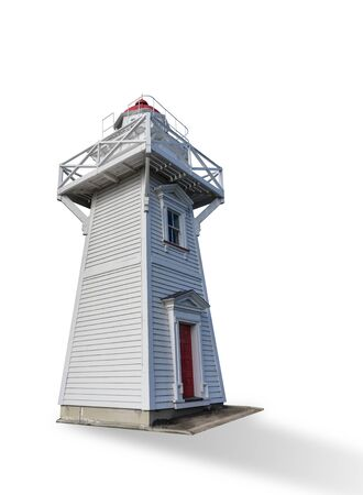 White wooden lighthouse isolated on white Stok Fotoğraf