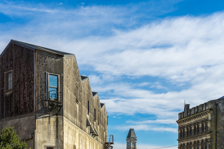 Vintage building and blue sky background