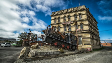 Oamaru, New Zealand - September 19, 2016: Steampunk HQ is an art collaboration and gallery in the historic Victorian precinct of Oamaru, New Zealand.