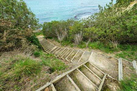Treppe zum Meer am Cape Wanbrow, Oamaru, Neuseeland Standard-Bild - 68569020