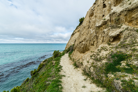 oamaru: Cape Wanbrow, a rocky headland in Oamaru, New Zealand