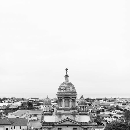 oamaru: Overlook view of Oamaru in Black and White background image Stock Photo