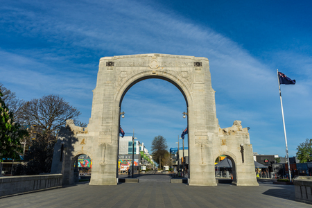 Christchurch, New Zealand - October 19, 2016: The Bridge of Remembrance is the war memorials in Christchurch, New Zealand. It is dedicated to those who died in World War I. Stok Fotoğraf - 68686396