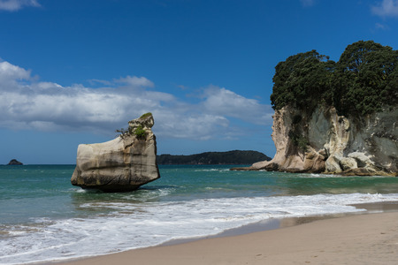 Beautiful view of Cathedrol Cove beach in New Zealand