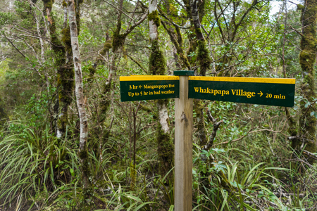 Signpost in Tongariro national park, North Island, New Zealand