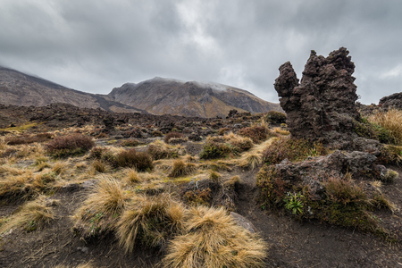 Volcanic rocks formation at Tongariro national park, New Zealand Stok Fotoğraf