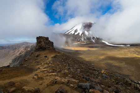 Mt Ngauruhoe in the clouds. Mt Ngauruhoe is an active stratovolcano in New Zealand