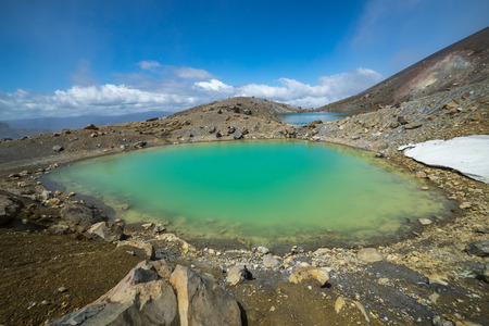 Emerald Lakes in Tongariro national park, New Zealand Stok Fotoğraf - 70271968