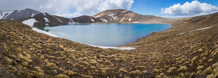 Panoramic view of Blue lake in Tongariro national park, New Zealand Stok Fotoğraf