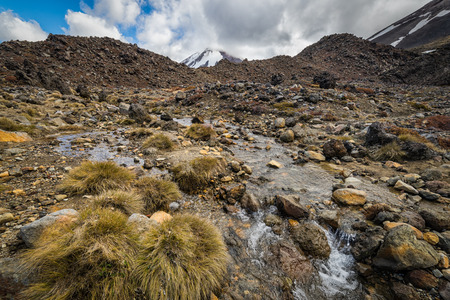 Small stream with Mt Ngauruhoe at the background. Tongariro national park, New Zealand