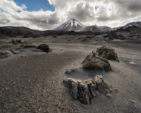 View of Tongariro national park and Mt Ngauruho, an active volcano in New Zealand