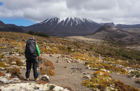 woman hiker looking at Mount Ngauruhoe in Tongariro national park, New Zealand Standard-Bild