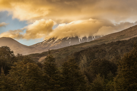 Mount Ngauruhoe at sunset in Tongariro national park