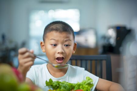 Happy child boy eating vegetables at home. Healthy nutrition for kids.Cute boy Asian sit at table with plate and food Archivio Fotografico