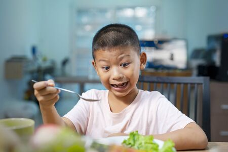 Happy child boy eating vegetables at home. Healthy nutrition for kids.Cute boy Asian sit at table with plate and food.