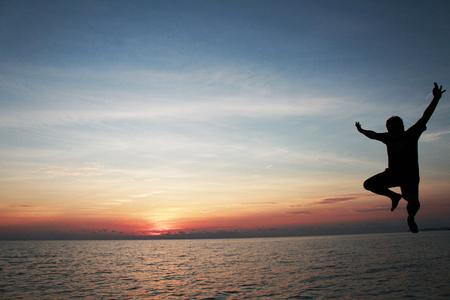 little girl feet: Jumping Sunset Sunrise Beach and Sea