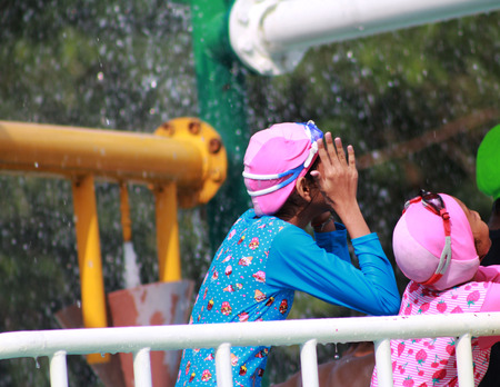 water park: Two girls is play water park