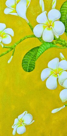 Plumeria flowers on the drawing canvas, gold photo