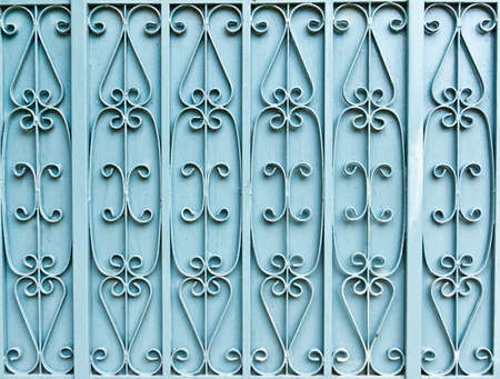The blue iron gate in background texture photo