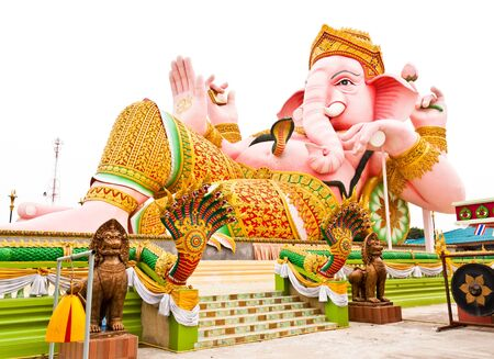 parvati: Ganesha in pink sleeping posture. Located in Nakhon Nayok Province in Thailand