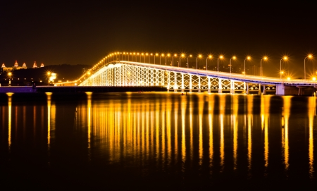 The bridge across the island at night on the island of Macao photo