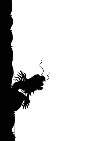 Silhouette of a dragon isolated on a white background photo