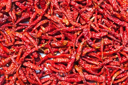 The combined, dried chillies are many red pigments photo