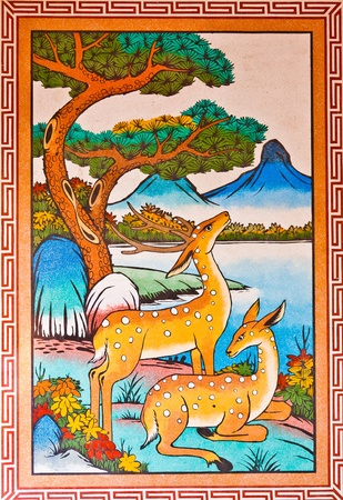 Deer on the walls of a Chinese temple
