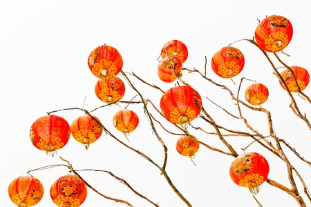 Chinese lantern on a white background isolated photo