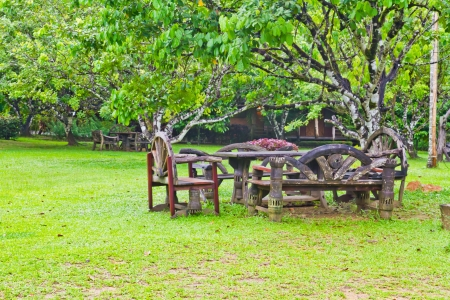 Wooden tables and chairs on the grass photo