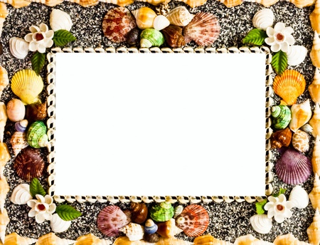 Frame used shells in many colors sizes to make up Stock Photo - 20492880