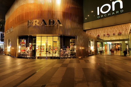 prada: Beautiful shot of Prada store at orchard ion
