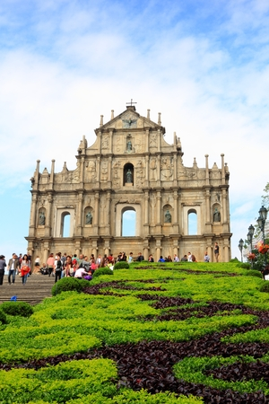 Ruins of St Paul Church, iconic portugese landmark of Macau, South China - Asia s greatest monument to Christianity It was designed by an Italian Jesuit and was built in 1602 by Japanese refugees who had fled anti-christian persecution in Nagasaki