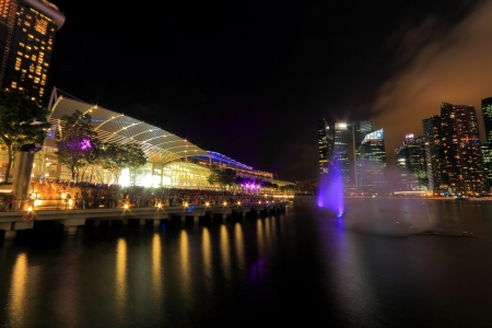 lasted: The public enjoying the light show at MBS with the city nights cape as the back drop  The light show named Wonder full lasted for 13mins  This is the free showcase of stunning visual effects with interweaving lasers, video projectors and giant streaming w
