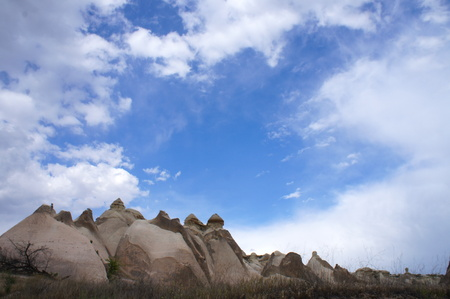phallic: Rock formations in Cappadocia, Turkey - nature background - Stock Photo
