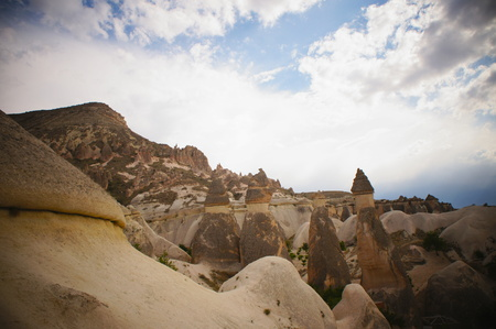 Rock formations in Cappadocia, Turkey - nature background - photo