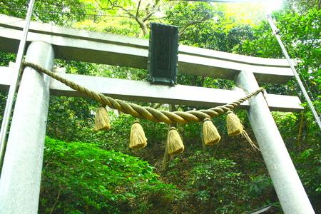 shinto: Torii and Shimenawa Rope. Shinto Temple, JAPAN.
