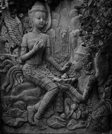 Thai statue art wall , black and white photo
